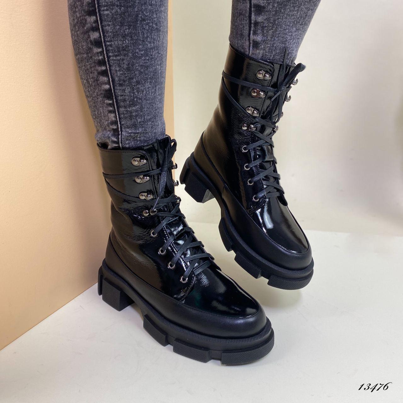 Ботинки зимние высокие женские кожаные чёрные