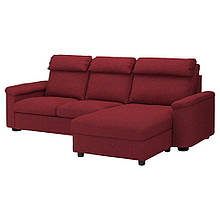 LIDHULT ЛІДХУЛЬТ, 3-місний диван-ліжко, з канапою, ЛЕЙДЕ червоно-коричневий