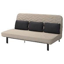 NYHAMN НІХАМН, Диван-ліжко з потрійною подушкою, матрац з блоком незалежних пружин, ХЮЛЛІЕ бежевий
