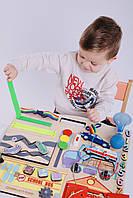 Бизиборд для мальчика Intellect Wood Машинки 45*40 (b00012)