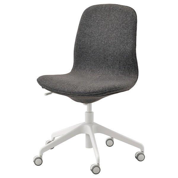 LÅNGFJÄLL ЛОНГФЬЄЛЛЬ, Офісний стілець, ГУННАРЕД темно-сірий, білий