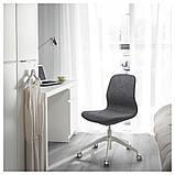 LÅNGFJÄLL ЛОНГФЬЄЛЛЬ, Офісний стілець, ГУННАРЕД темно-сірий, білий, фото 7