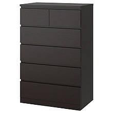 MALM МАЛЬМ, Комод із 6 шухлядами, чорно-коричневий80x123 см