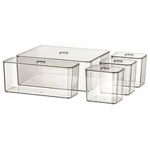 GODMORGON ГОДМОРГОН, Набір коробок із кришкою, 5 шт, димчастий24x20x10 см