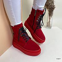 Ботинки женские высокие красные, фото 1