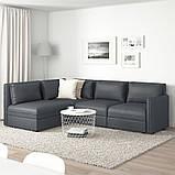 VALLENTUNA ВАЛЛЕНТУНА, Модуль кутів 3-місного дивана-ліжка, відділення д/зберігання, ХІЛЛАРЕД темно-сірий, фото 3