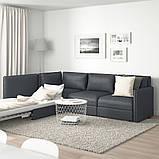 VALLENTUNA ВАЛЛЕНТУНА, Модуль кутів 3-місного дивана-ліжка, відділення д/зберігання, ХІЛЛАРЕД темно-сірий, фото 4