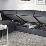 VALLENTUNA ВАЛЛЕНТУНА, Модуль кутів 3-місного дивана-ліжка, відділення д/зберігання, ХІЛЛАРЕД темно-сірий, фото 6