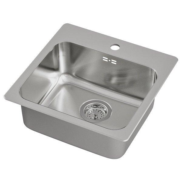 LÅNGUDDEN ЛОНГУДДЕН, Одинарна врізна мийка, нержавіюча сталь46x46 см
