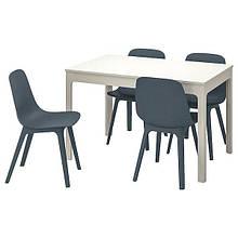 EKEDALEN ЕКЕДАЛЕН / ODGER ОДГЕР, Стіл+4 стільці, білий, синій120/180 см