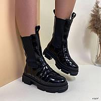 Ботинки женские высокие лаковые чёрные, фото 1