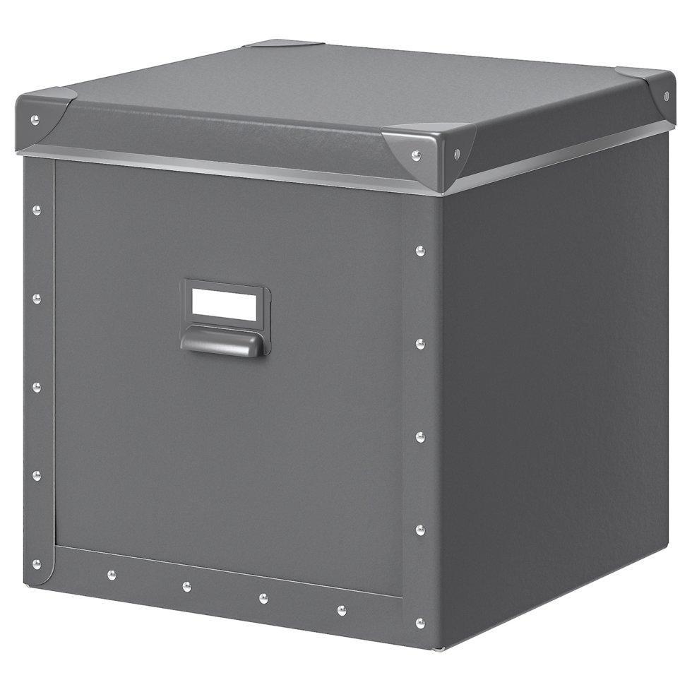 FJÄLLA ФЬЄЛЛА, Коробка для зберігання з кришкою, темно-сірий30x31x30 см