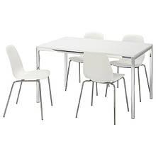 TORSBY ТОРСБІ / LEIFARNE ЛЕЙФАРНЕ, Стіл+4 стільці, глянцевий білий, білий135 см