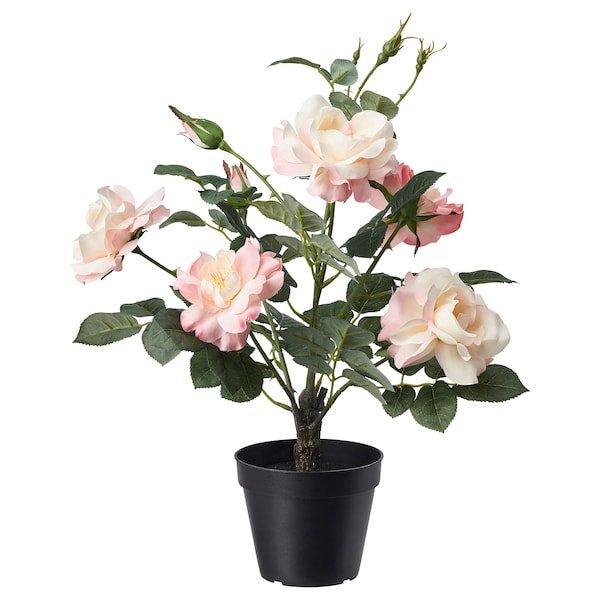 FEJKA ФЕЙКА, Штучна рослина в горщику, для приміщення/вулиці, Троянда рожевий12 см