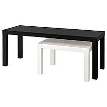 LACK ЛАКК, Комплект столів, 2 шт, чорний, білий