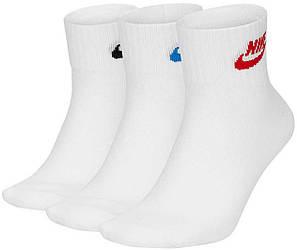 Носки (3 пары) Nike белые U NK NSW EVERYDAY ESSENTIAL ANKLE 3PR