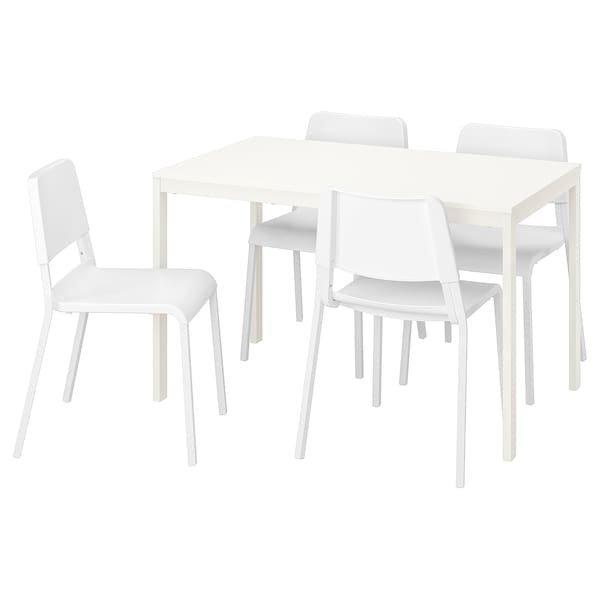 VANGSTA ВАНГСТА / TEODORES ТЕОДОРЕС, Стіл+4 стільці, білий, білий120/180 см