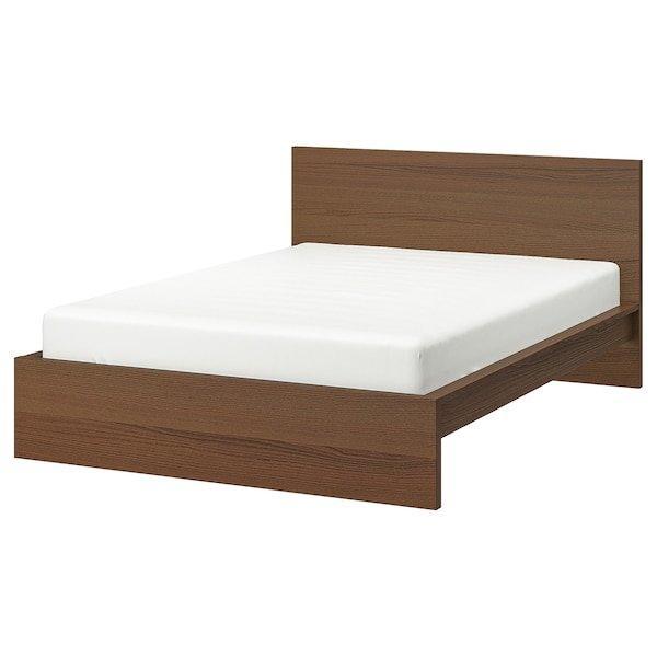 MALM МАЛЬМ, Каркас ліжка, високий, коричнева морилка ясеневий шпон, ЛУРОЙ140x200 см