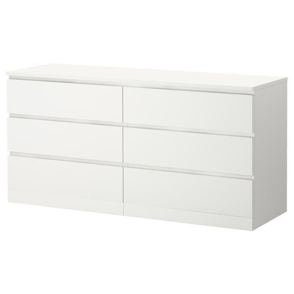 MALM МАЛЬМ, Комод із 6 шухлядами, білий160x78 см