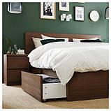 MALM МАЛЬМ, Каркас ліжка, високий, 4 крб д/збер, коричнева морилка ясеневий шпон, ЛУРОЙ160x200 см, фото 4