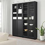 BILLY БІЛЛІ / OXBERG ОКСБЕРГ, Стелаж панель/скляні дверцята, чорно-коричневий, скло160x30x202 см, фото 2