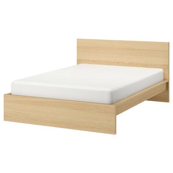 MALM МАЛЬМ, Каркас ліжка, високий, білений дубовий шпон, ЛУРОЙ160x200 см