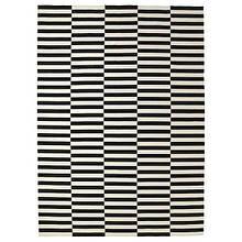STOCKHOLM СТОКГОЛЬМ, Килим, пласке плетіння, ручна робота, смугастий чорний/кремово-білий250х350 см
