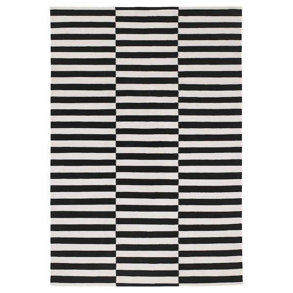 STOCKHOLM СТОКГОЛЬМ, Килим, пласке плетіння, ручна робота, смугастий чорний/кремово-білий170x240 см