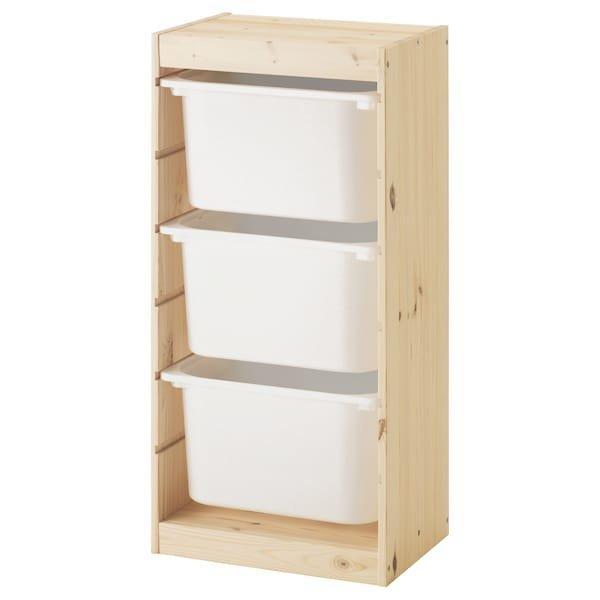 TROFAST ТРУФАСТ, Комбінація для зберіган +контейнери, світла білена сосна, білий44x30x91 см