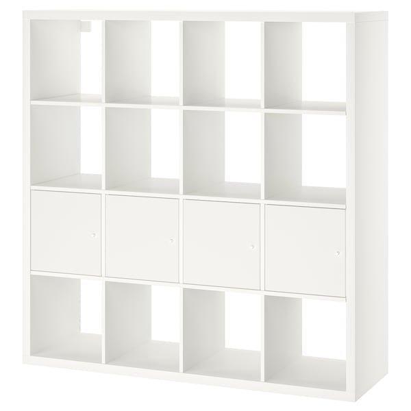 KALLAX КАЛЛАКС, Стелаж із 4 вставками, білий147x147 см