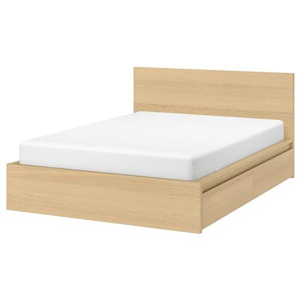 MALM МАЛЬМ, Каркас ліжка, високий, 4 крб д/збер, білений дубовий шпон140x200 см