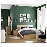 MALM МАЛЬМ, Каркас ліжка, високий, 4 крб д/збер, білений дубовий шпон140x200 см, фото 5