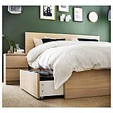 MALM МАЛЬМ, Каркас ліжка, високий, 4 крб д/збер, білений дубовий шпон140x200 см, фото 6