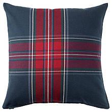 JUNHILD ЮНХІЛЬД, Чохол для подушки, синій/червоний50x50 см