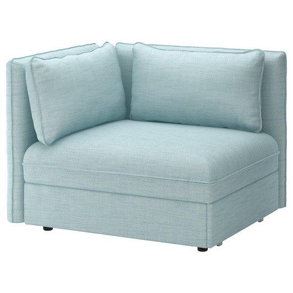 VALLENTUNA ВАЛЛЕНТУНА, Модуль дивана-ліжка зі спинкою, ХІЛЛАРЕД світло-синій