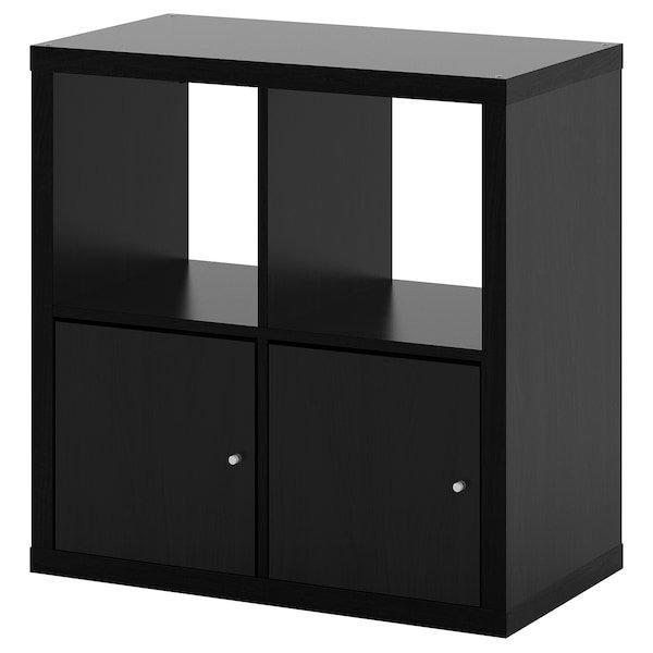 KALLAX КАЛЛАКС, Стелаж із дверцятами, чорно-коричневий77x77 см