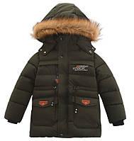 Зимняя теплая куртка для мальчика с капюшоном лет на флисовой подкладке на рост 100-110
