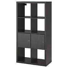 KALLAX КАЛЛАКС, Стелаж із дверцятами, чорно-коричневий77x147 см