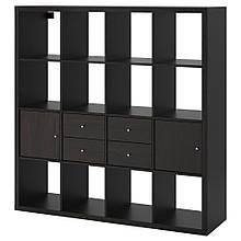 KALLAX КАЛЛАКС, Стелаж із 4 вставками, чорно-коричневий147x147 см