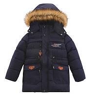 Зимний теплый пуховик куртка парка для мальчика подростка на флисовой подкладке на рост 150-160