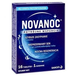 Sanofi, Novanoc для хорошего сна с мелатонином, витамином В6, мелиссой, пассифлорой, эшшольцией 16 таб