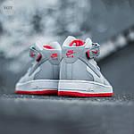 Мужские высокие кроссовки NIKE AIR FORCE 1 MID ´07 Platinum/ Wolf Grey-Bright Crimson (серые) 543TP, фото 2