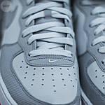Мужские высокие кроссовки NIKE AIR FORCE 1 MID ´07 Platinum/ Wolf Grey-Bright Crimson (серые) 543TP, фото 3