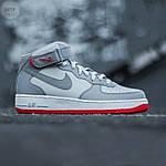 Мужские высокие кроссовки NIKE AIR FORCE 1 MID ´07 Platinum/ Wolf Grey-Bright Crimson (серые) 543TP, фото 4