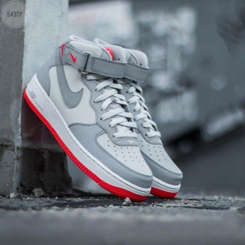 Мужские высокие кроссовки NIKE AIR FORCE 1 MID ´07 Platinum/ Wolf Grey-Bright Crimson (серые) 543TP