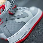 Мужские высокие кроссовки NIKE AIR FORCE 1 MID ´07 Platinum/ Wolf Grey-Bright Crimson (серые) 543TP, фото 5