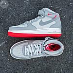 Мужские высокие кроссовки NIKE AIR FORCE 1 MID ´07 Platinum/ Wolf Grey-Bright Crimson (серые) 543TP, фото 6