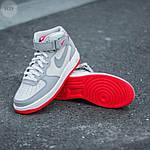 Мужские высокие кроссовки NIKE AIR FORCE 1 MID ´07 Platinum/ Wolf Grey-Bright Crimson (серые) 543TP, фото 7