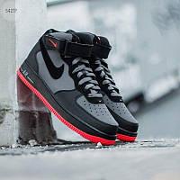 Мужские высокие кроссовки NIKE AIR FORCE 1 MID ´07 lava grey/ red black (черно-серые) 542TP