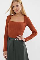 Приталенная женская длинная футболка-лонгслив оранжевого цвета, размер S, M, L, XL, фото 2